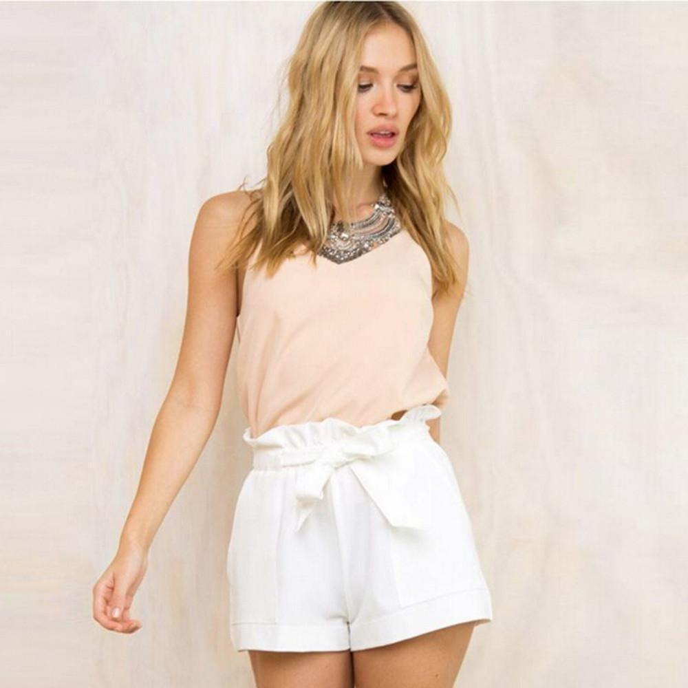 Fashion Women Casual Shorts Design Patchwork Plus Size High Waist Shorts Loose Fashionable Shorts female With Belt-Shorts-Sour Grapes Online-White-S-