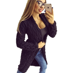 Fashion Women Knitted Sweater Coat Winter Long Sleeve Black Cardigan-Coat-Sour Grapes Online-Black-