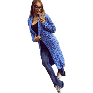 Fashion Women Knitted Sweater Coat Winter Long Sleeve Blue Cardigan-Coat-Sour Grapes Online-Blue-