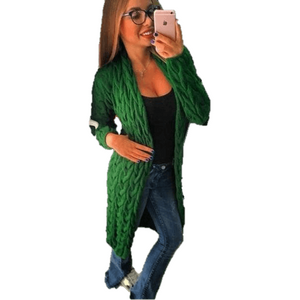Fashion Women Knitted Sweater Coat Winter Long Sleeve Green Cardigan-Coat-Sour Grapes Online-Green-