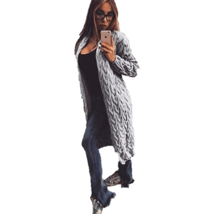 Fashion Women Knitted Sweater Coat Winter Long Sleeve Grey Cardigan-Coat-Sour Grapes Online-Grey-