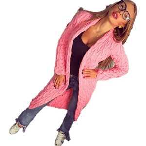 Fashion Women Knitted Sweater Coat Winter Long Sleeve Pink Cardigan-Coat-Sour Grapes Online-Pink-