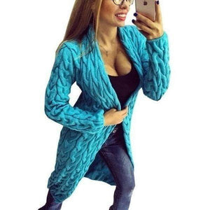 Fashion Women Knitted Sweater Coat Winter Long Sleeve Sky Blue Cardigan-Coat-Sour Grapes Online-Sky Blue-