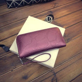 Fashion Women Leather Wallet Female Long Card Holder Big Stone Wallets Casual Clutch Zipper Coin Purse Cellphone ID Holder H880-Wallet-Sour Grapes Online-purple-