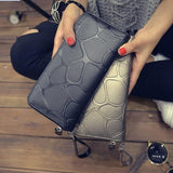 Fashion Women Leather Wallet Female Long Card Holder Big Stone Wallets Casual Clutch Zipper Coin Purse Cellphone ID Holder H880-Wallet-Sour Grapes Online-black-