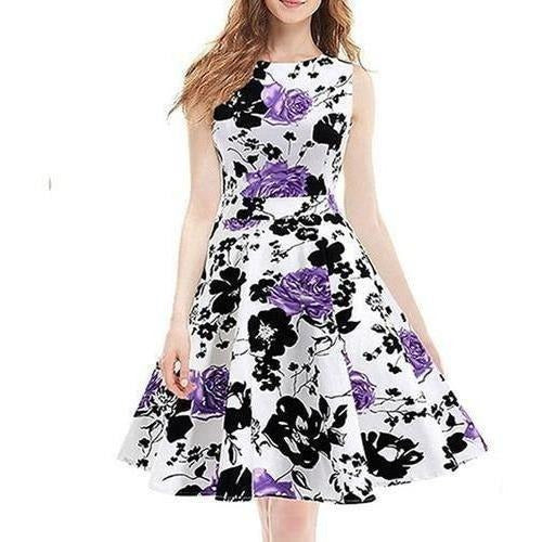 Fashion Women Print Sexy Party Sleeveless Dress Women Casual Dress Summer Clothing-Dress-Sour Grapes Online-Purple rose-S-