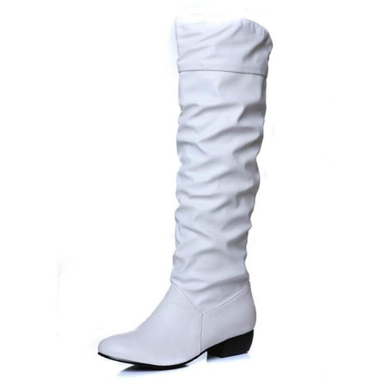 Fashion Women Slip On Low Heel Knee Boots - 3 colors-Shoes-Sour Grapes Online-White-4-