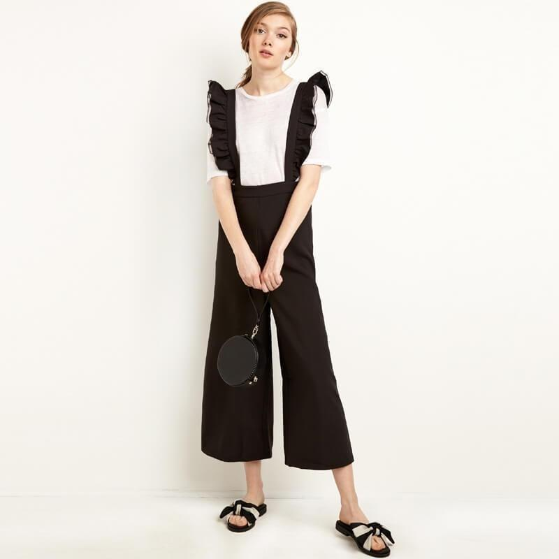 Fashion Women Solid Black Ruffle Patchwork Casual Jumpsuit Sleeveless Wide Leg Rompers Overalls-Jumpsuit-Sour Grapes Online-Black-S-