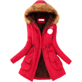 Faux Fur Collar Coat Long Down Parka Winter Red Jacket-Coat-Sour Grapes Online-Red-XXL-