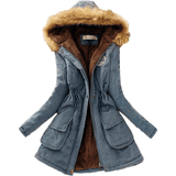 Faux Fur Collar Coat Long Down Parka Winter Steel Blue Jacket-Coat-Sour Grapes Online-Steel Blue-XXL-