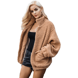 Faux Lambswool Oversized Winter Warm Overcoat for Women-Coat-Sour Grapes Online-BurlyWood-S-