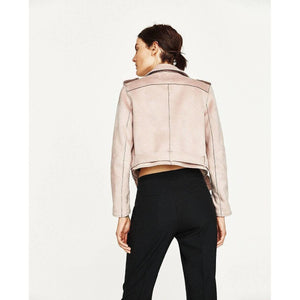 Faux Suede Outerwear Leather Biker Motorcycle Jacket Womens-Jackets-Sour Grapes Online-Pink-S-