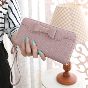 Female Bow Shaped Long Leather Wallets Women Coin purse-Wallet-Sour Grapes Online-Pink-