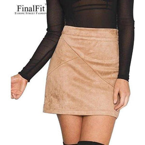 FinalFit High Waisted Pencil Women Skirt Suede Tight Bodycon Sexy Mini Short Skirt-Skirt-Sour Grapes Online-beige-S-