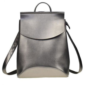 Genuine High Quality Designer Women Leather Silver Color Backpack-Backpack-Sour Grapes Online-