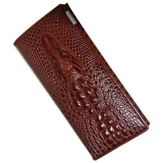 Maillusion Women Wallet Luxurious Genuine Leather 3D Alligator Ladies Hasp Coin Purse Crocodile Long Clutch Wallet Female oney-Wallet-Sour Grapes Online-Brown-