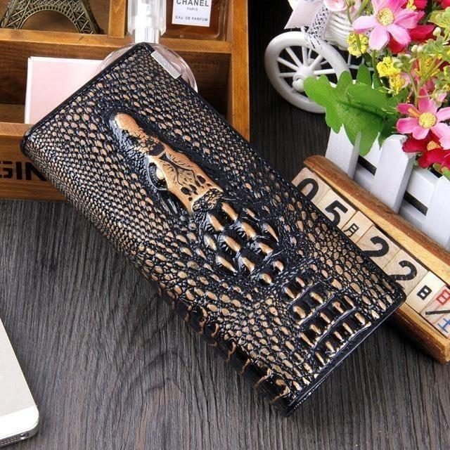 Maillusion Women Wallet Luxurious Genuine Leather 3D Alligator Ladies Hasp Coin Purse Crocodile Long Clutch Wallet Female oney-Wallet-Sour Grapes Online-Cinnamon-