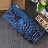 Maillusion Women Wallet Luxurious Genuine Leather 3D Alligator Ladies Hasp Coin Purse Crocodile Long Clutch Wallet Female oney-Wallet-Sour Grapes Online-Draw blue-