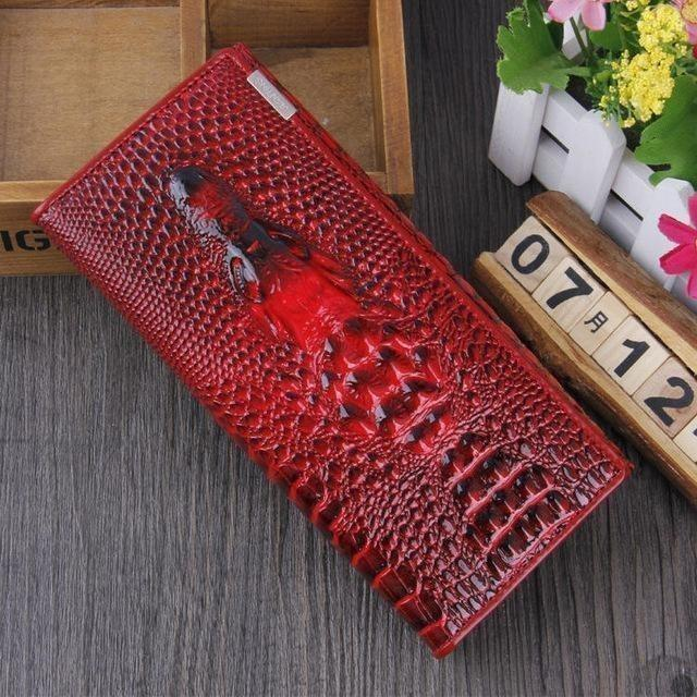 Maillusion Women Wallet Luxurious Genuine Leather 3D Alligator Ladies Hasp Coin Purse Crocodile Long Clutch Wallet Female oney-Wallet-Sour Grapes Online-Draw red-