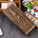 Maillusion Women Wallet Luxurious Genuine Leather 3D Alligator Ladies Hasp Coin Purse Crocodile Long Clutch Wallet Female oney-Wallet-Sour Grapes Online-Gold-