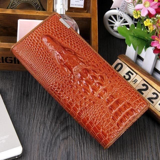 Maillusion Women Wallet Luxurious Genuine Leather 3D Alligator Ladies Hasp Coin Purse Crocodile Long Clutch Wallet Female oney-Wallet-Sour Grapes Online-Orange-