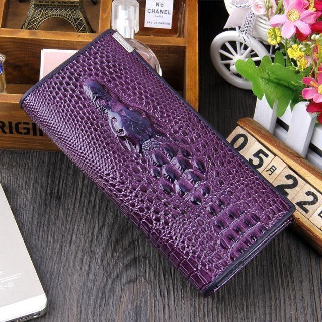 Maillusion Women Wallet Luxurious Genuine Leather 3D Alligator Ladies Hasp Coin Purse Crocodile Long Clutch Wallet Female oney-Wallet-Sour Grapes Online-Purple-