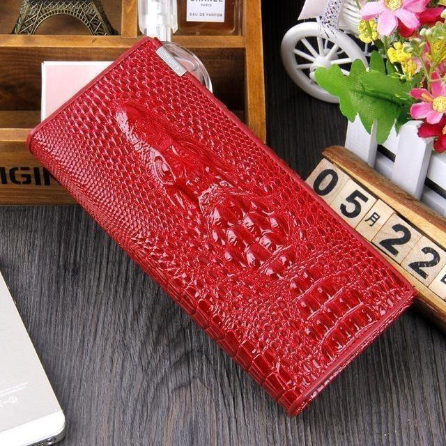 Maillusion Women Wallet Luxurious Genuine Leather 3D Alligator Ladies Hasp Coin Purse Crocodile Long Clutch Wallet Female oney-Wallet-Sour Grapes Online-Red-
