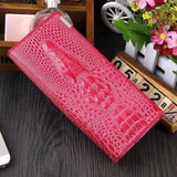 Maillusion Women Wallet Luxurious Genuine Leather 3D Alligator Ladies Hasp Coin Purse Crocodile Long Clutch Wallet Female oney-Wallet-Sour Grapes Online-Rose red-