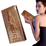Genuine Leather 3D Alligator Women Wallet Ladies Hasp