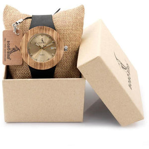 Genuine Leather Luxury Women Wooden Watch w/ Calendar-Watch-Sour Grapes Online-