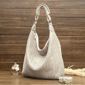 Genuine Leather Shiny Serpentine Hobo Bags Snake Embossed Leather Casual Hobo Handbags