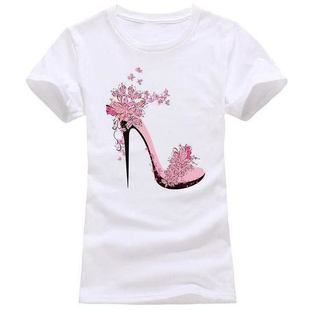 High-heeled Shoes Printing T shirt Women Fashion Summer T-Shirt Street wear Cotton Top Tees 6 Colors-T-Shirt-Sour Grapes Online-Ivory-S-