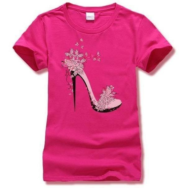 High-heeled Shoes Printing T shirt Women Fashion Summer T-Shirt Street wear Cotton Top Tees 6 Colors-T-Shirt-Sour Grapes Online-Rose-S-
