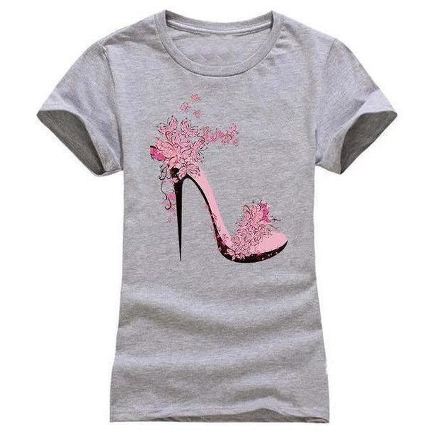 High-heeled Shoes Printing T shirt Women Fashion Summer T-Shirt Street wear Cotton Top Tees 6 Colors-T-Shirt-Sour Grapes Online-Silver-S-