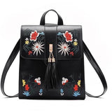 High Quality PU Embroidery Casual Travel Backpack-Backpack-Sour Grapes Online-Black-