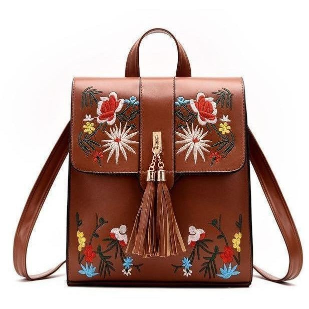 High Quality PU Embroidery Casual Travel Backpack-Backpack-Sour Grapes Online-Brown-