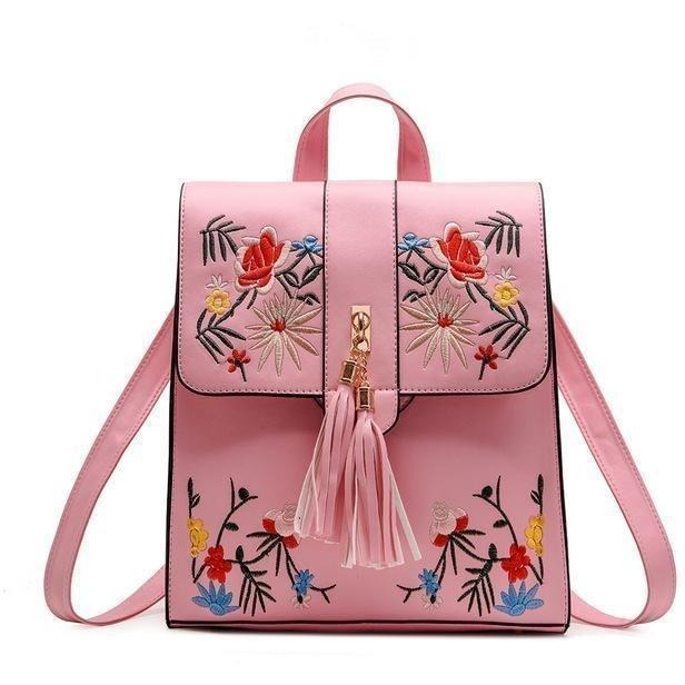 High Quality PU Embroidery Casual Travel Backpack-Backpack-Sour Grapes Online-Pink-