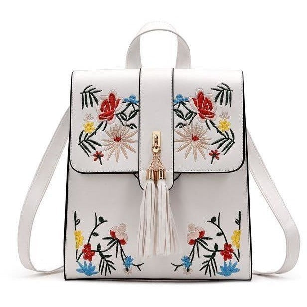 High Quality PU Embroidery Casual Travel Backpack-Backpack-Sour Grapes Online-White-