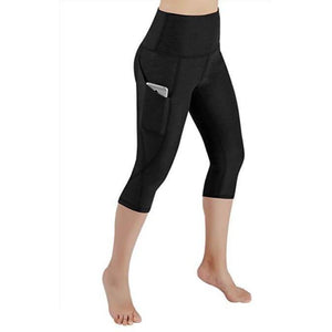High waist Elastic women Mesh Legging Capri Pants with Pockets-Fitwear-Sour Grapes Online-Black-S-