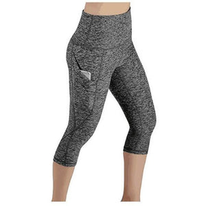 High waist Elastic women Mesh Legging Capri Pants with Pockets-Fitwear-Sour Grapes Online-Grey-S-