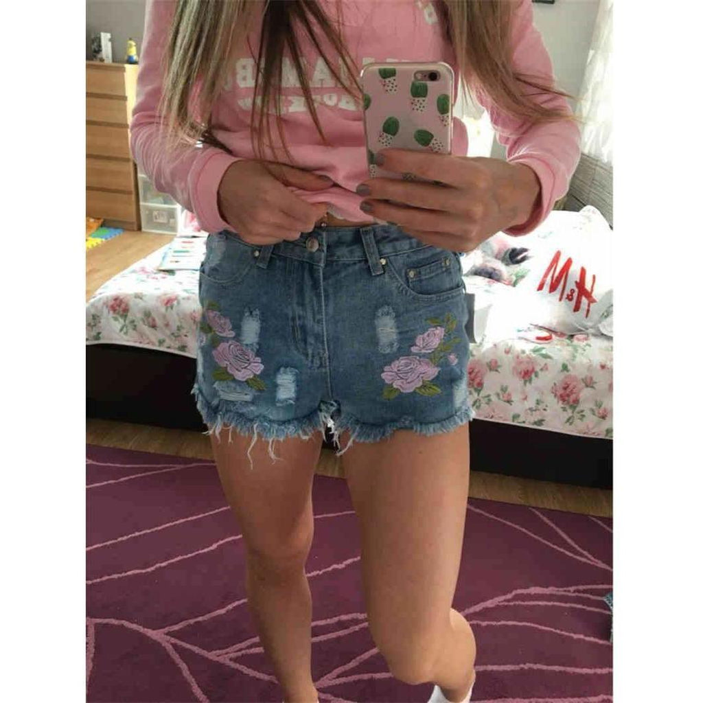 High Waist Fashion Embroidery Floral Denim Shorts-Shorts-Sour Grapes Online-Sky Blue-S-