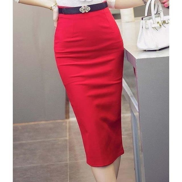 High Waist Pencil Skirts Plus Size Tight Bodycon Fashion Women Midi Skirt Red Black Slit Women's Skirt Fashion Jupe Femme S 5XL-Skirt-Sour Grapes Online-Red-S-