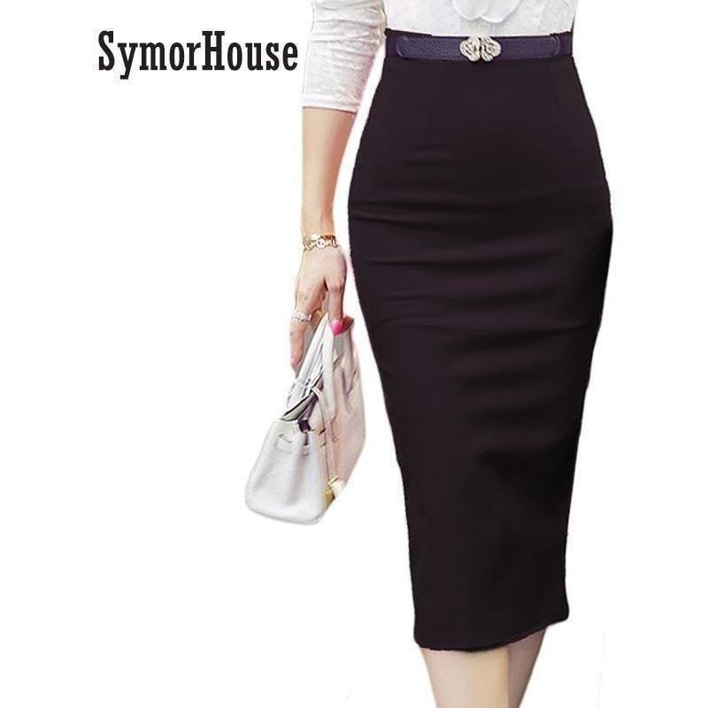 High Waist Pencil Skirts Plus Size Tight Bodycon Fashion Women Midi Skirt Red Black Slit Women's Skirt Fashion Jupe Femme S 5XL-Skirt-Sour Grapes Online-Black-S-