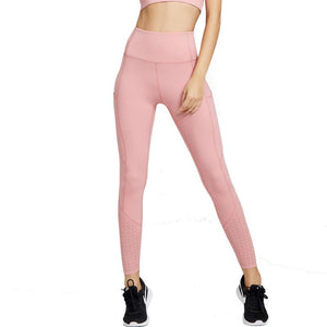 High Waisted Hollow Out Yoga pants With Pockets Sports Fitness Leggings