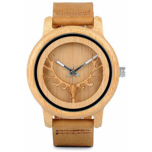 Hollow Deer Head Bamboo Wood Quartz Watch w/ Leather Strap-Watch-Sour Grapes Online-