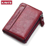 KAVIS 2017 New Vintage Small Women Wallets Female Genuine Leather Womens Wallet Zipper Design With Coin Purse Pockets Mini Walet-Wallet-Sour Grapes Online-Red-
