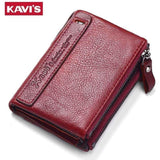 KAVIS 2017 New Vintage Small Women Wallets Female Genuine Leather Womens Wallet Zipper Design With Coin Purse Pockets Mini Walet-Wallet-Sour Grapes Online-Black-