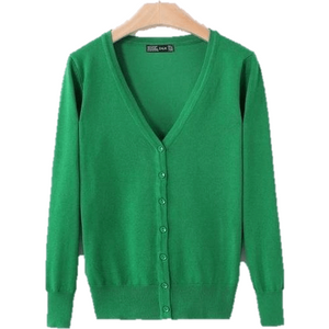 Knitted Cardigan Long Sleeve V-Neck Women's Sweater Cardigan-Cardigan-Sour Grapes Online-Grass Green-M-