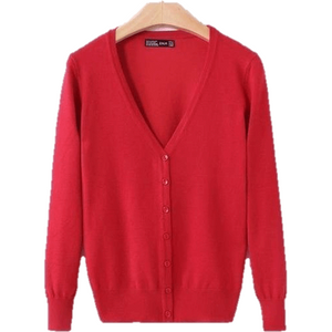 Knitted Cardigan Long Sleeve V-Neck Women's Sweater Cardigan-Cardigan-Sour Grapes Online-Red-M-