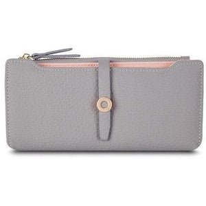 Ladies Leather Card Holder Wallets for Women Girls Coin Purse-Wallet-Sour Grapes Online-Grey-